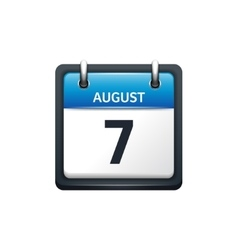 August 7 Calendar icon flat vector image vector image