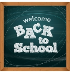Back to school School icons on a blackboard vector image