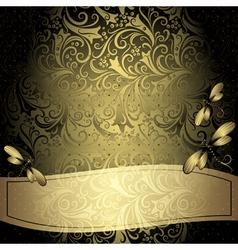 Black-gold vintage floral frame vector
