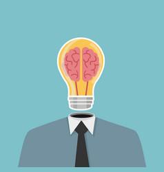 businessma head light bulb vector image