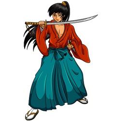 cartoon samurai vector image vector image