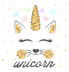 cat unicorn caticorn vector image
