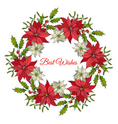 christmas and new year wreath with holly and vector image