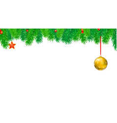 christmas banner with fir branches and red berries vector image