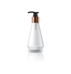 Clear cosmetic cone shape bottle with pump head vector