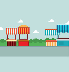 collection of street stall lined landscape vector image