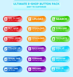Collection of web buttons for e-shops vector image