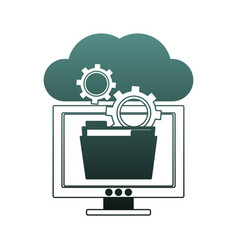 computer with folder in cloud blue lines vector image