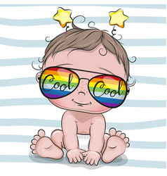 Cool cartoon baby with sun glasses vector