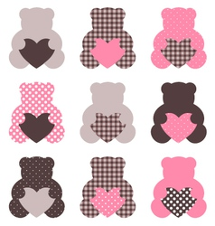 Cute abstract Teddy retro set - brown and pink vector