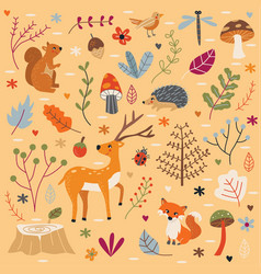 Cute autumn forest set vector