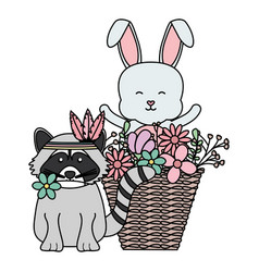 cute raccoon and rabbit in basket bohemian style vector image