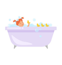 Cute red hair girl is take a bath with yellow vector