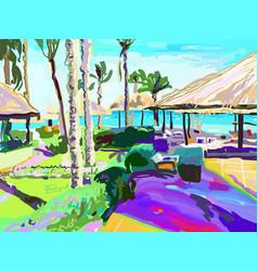 digital painting of summer beach landscape vector image