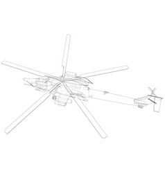 Drawing of helicopter wireframe concept vector