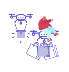 drone delivery service concept with people vector image
