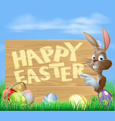 easter bunny happy easter sign vector image