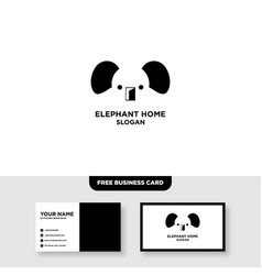 elephant logo template free business card mockup vector image