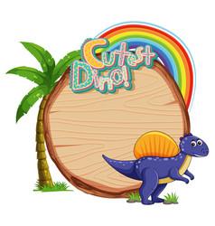 Empty board template with cute dinosaur cartoon vector