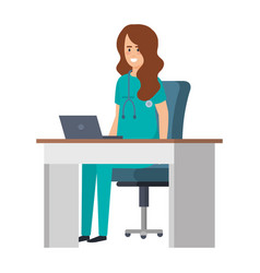 Female practitioner in consulting room vector