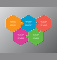 five pieces puzzle jigsaw hexagonal info graphic vector image
