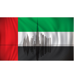 flag of united arab emirates with dubai skyline vector image