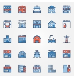 Flat building icons set vector