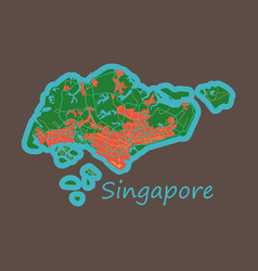 Flat map of singapore vector