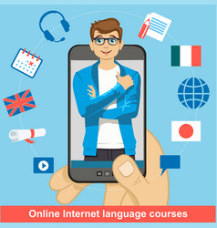 Foreign language online learning smartphone in vector