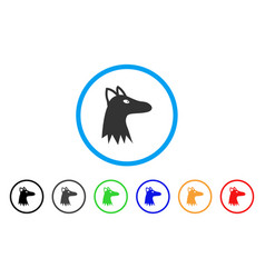 fox head rounded icon vector image