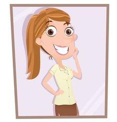 Girl looking in mirror vector