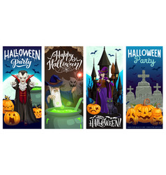 Halloween pumpkins witch ghosts party banners vector