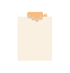 hand with sheet without text vector image
