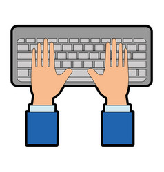 hands human with keyboard vector image