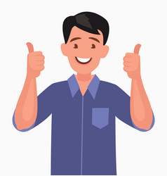 happy man shows thumb up gesture cool vector image