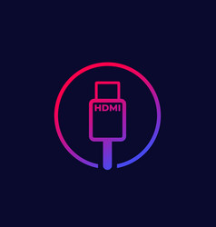 hdmi cable icon with gradient vector image