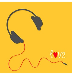 Headphones with red cord Love card White text vector image