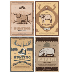 Hunting club and african safari tour vector