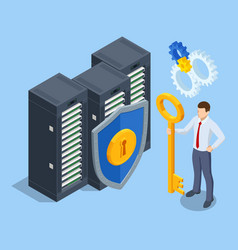 Isometric data security system cyber security vector