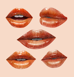 Juicy lips set vector