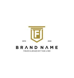 Letter f shield law logo design concept vector