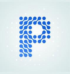 letter p logo halftone icon vector image