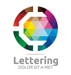 lettering c rainbow alphabet icon vector image