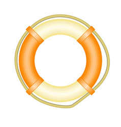 Life buoy with rope - symbol of rescue and help vector