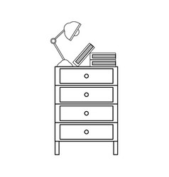 Line cabinet file archive with lamp desk and books vector