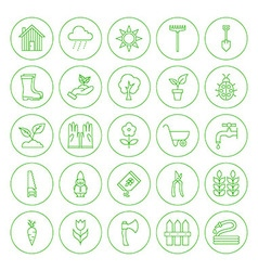 Line Circle Spring Gardening Tools Icons Set vector image