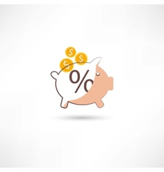 Little moneybox with money vector