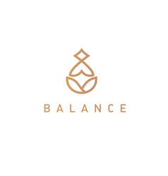 Logo linear icon yoga person chinese practice vector