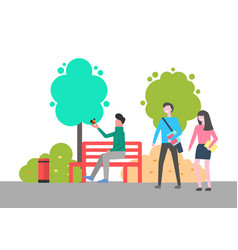 man sitting on bench holding bird on hand in park vector image