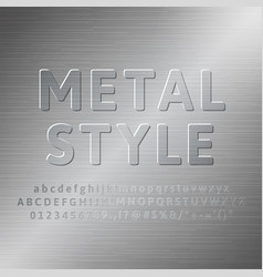 Metal alphabet 3d font effect vector